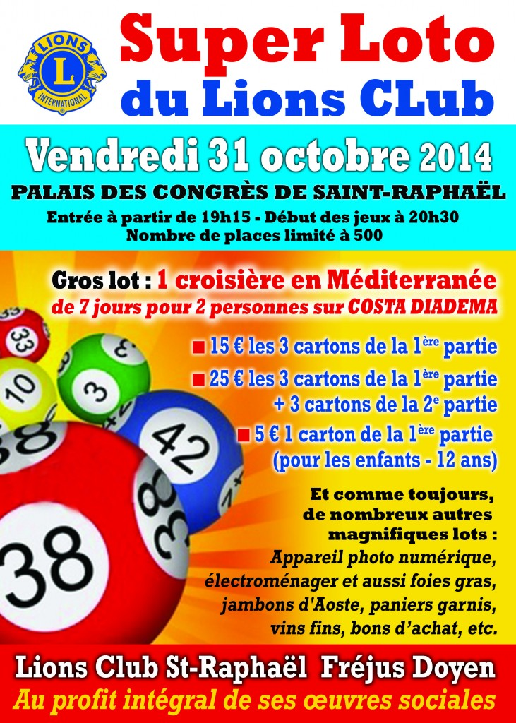 AFFICHE LOTO LIONS CLUB Oct.2014